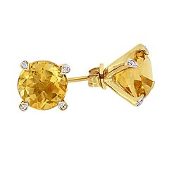 Stella Grace 10k Gold 1/10 Carat T.W. Diamond & Citrine Stud Earrings