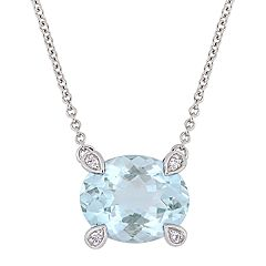 Stella Grace 10k White Gold 1/10 Carat T.W. Diamond & Aquamarine Beaded Necklace
