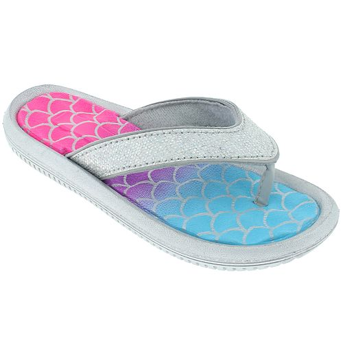 Girls 4-12 Elli by Capelli Mermaid Scale & Glitter Thong Flip Flop Sandals