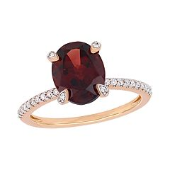 Stella Grace 10k Rose Gold 1/10 Carat T.W. Diamond & Garnet Ring