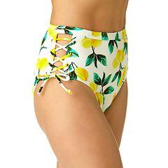 Juniors' California Sunshine Lace-Up High-Waisted Bikini Bottoms
