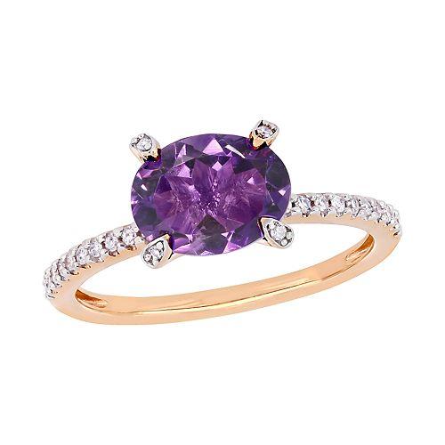 Stella Grace 10k Rose Gold 1/10 Carat T.W. Diamond & Amethyst Ring