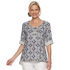 Women's Dana Buchman Abstract Print Linen-Blend Top