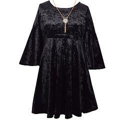 Girls 7-16 Bonnie Jean Crushed Velvet Bell Sleeve Necklace Detail Dress