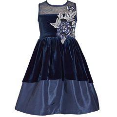 Girls 7-16 Bonnie Jean Sleeveless Illusion Velvet Hi-Low Embroidered Flower Dress