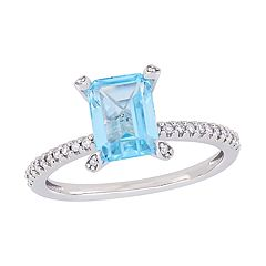 Stella Grace 10k White Gold 1/10 Carat T.W. Diamond & Blue Topaz Ring