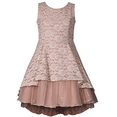 Girls 7-16 Bonnie Jean Lace Detail Metallic Mesh Layered High Low Dress
