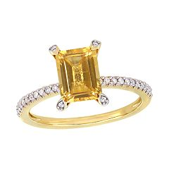 Stella Grace 10k Gold 1/10 Carat T.W. Diamond & Citrine Ring