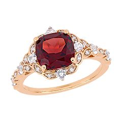 Stella Grace 14k Rose Gold Diamond Accent & Garnet Ring
