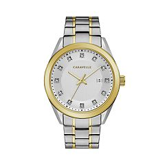 Caravelle Men's Crystal Accent Two Tone Stainless Steel Watch - 45B154