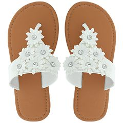 Girls 4-12 Elli by Capelli Daisy Flower Thong Flip Flop Sandals