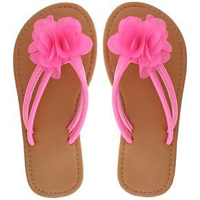 Girls 4-12 Elli by Capelli Chiffon Flower Thong Flip Flop Sandals