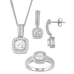 Sterling Silver Cubic Zirconia 3-piece Jewelry Set