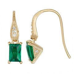 14K Yellow Gold over Sterling Silver Lab-Created Emerald & White Sapphire Earrings
