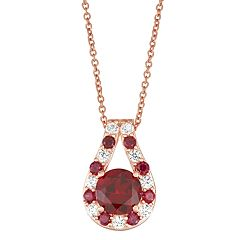 14K Rose Gold over Sterling Silver Lab-Created Ruby & White Sapphire Pendant Necklace