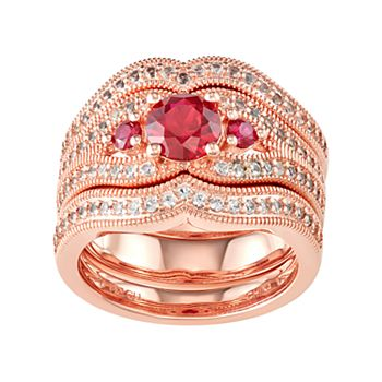 14K Rose Gold over Sterling Silver Lab-Created Ruby & White Sapphire Ring Set