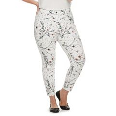 Plus Size Utopia by HUE Meadow Bouquet Denim Skimmer Leggings