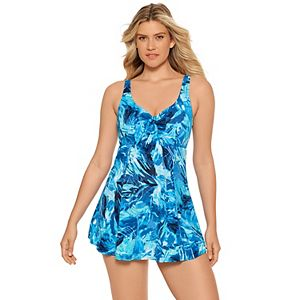 Women's Croft & Barrow Print Bow Front One-Piece Swimdress