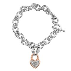 Rose Gold Tone Over Sterling Silver 1/4 Carat Diamond Heart Toggle Bracelet