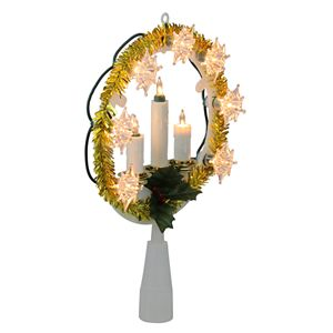 """8"""" Lighted Gold Tinsel Wreath with Candles Christmas Tree Topper"""