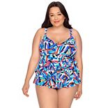 Plus Size Croft & Barrow® Tummy Slimmer Tiered One-Piece Fauxkini