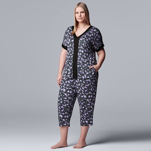 Plus Size Simply Vera Vera Wang Sleep Top & Capri Pajama Set