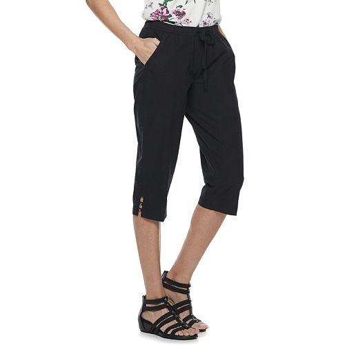Petites Croft & Barrow® Pull-On Drawstring Capri Pants