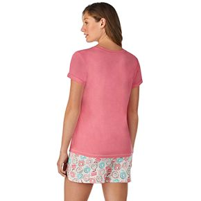 Women's Cuddl Duds 3-Piece Sleep Tee, Boxer Shorts & Luggage Tag Set