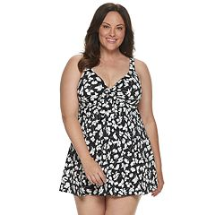 Plus Size Croft & Barrow® Bow Front One-Piece Swimdress