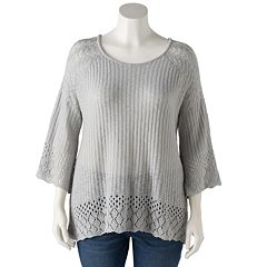 Plus Size LC Lauren Conrad Pointelle Scoopneck Sweater