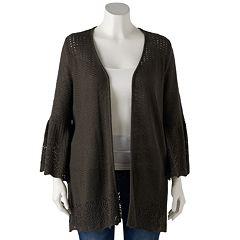 Plus Size LC Lauren Conrad Open-Stitch Cardigan