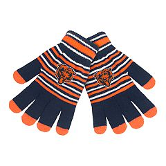 Adult Chicago Bears Striped Knit Gloves