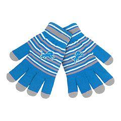 Adult Detroit Lions Striped Knit Gloves