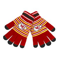 Adult Kansas City Chiefs Striped Knit Gloves