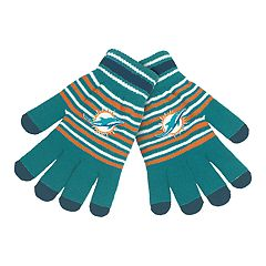 Adult Miami Dolphins Striped Knit Gloves