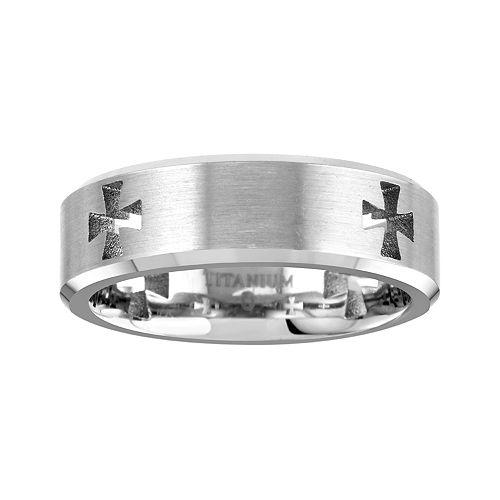 Men's Cross Cut-Out Titanium Band Ring