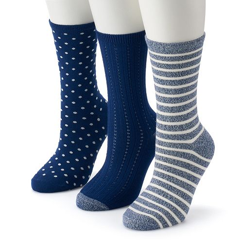 263445f451a Women s Cuddl Duds 3-Pack Everyday Crew Socks