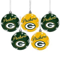 Green Bay Packers 5-Pack Shatterproof Ball Ornament Set