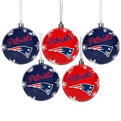 New England Patriots 5-Pack Shatterproof Ball Ornament Set