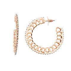Jennifer Lopez Crystal Stone Chain Link Hoop Earrings