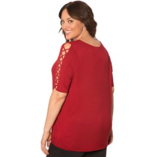 Plus Size Retrology Cage Sleeve Top