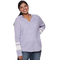 Juniors' Plus Size SO® Hooded V-Neck Pullover Sweater