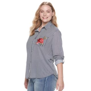 Juniors' Plus Size Liberty Love Stripe & Rose Pocket Button Down Shirt