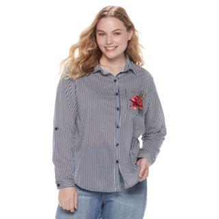 Juniors' Plus Size Liberty Love Stripe & Rose Pocket Button Down Shirt