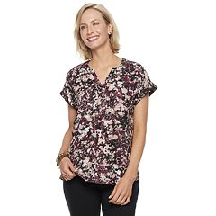 Women's Dana Buchman Splitneck Crinkle Top