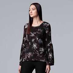 Petite Simply Vera Vera Wang Printed Bell Sleeve Top