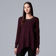 Petite Simply Vera Vera Wang Embellished Handkerchief-Hem Sweater