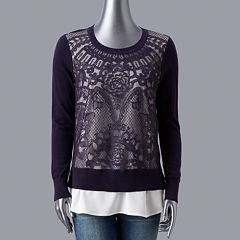 Petite Simply Vera Vera Wang Lace Front Sweater