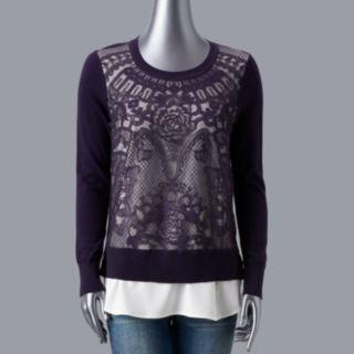 Petite Simply Vera Vera Wang Lace Front Sweater