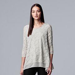 Petite Simply Vera Vera Wang Jacquard Handkerchief-Hem Top